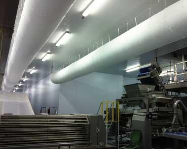 vista de una instalación de climatización de una sala limpia